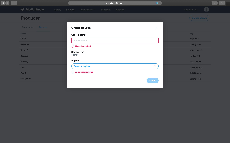 2. Click Create source.